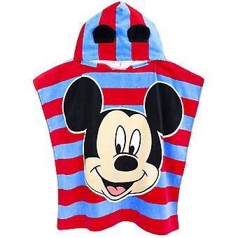 Disney Mickey Mouse 3D Oreilles Poncho Serviette pour enfants | Onesize Hooded Bath Towelling Robe pour filles et garçons | Couverture de natation de plage vers le haut pour des enfants et des enfants en bas âge