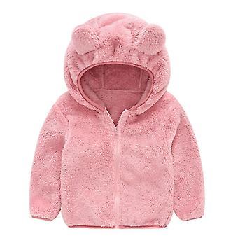 ملابس الشتاء الطفل، Gril / لطيف الأذن طويلة الأكمام سستة سترة، سميكة صلبة