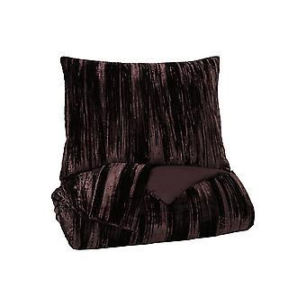 Conjunto de edredón tamaño King de tela con detalles texturizados y 2 shams, marrón oscuro