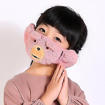 Cartoon Winter Earmuffs For, Women Mouth Cover Plus Velvet Winter Wrap Band,