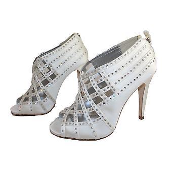 Bourne naiset ' s Ivory Tamsin Satiini peeptoe Lattice morsiamen kengät 38 UK 5