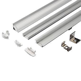 على شكل شريط LED أضواء الألومنيوم قناة حامل غطاء الحليب في نهاية المطاف لقطاع LED