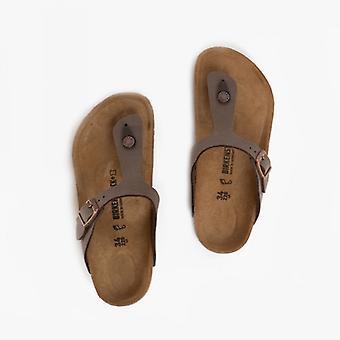 Birkenstock Gizeh 1002362 (reg) Kids Birko-flor Nubuck Toe Post Sandals Mocha