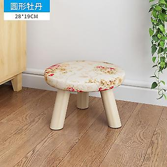 Originality Small Solid Wood Household A Living Room Fabric Art Small Stool