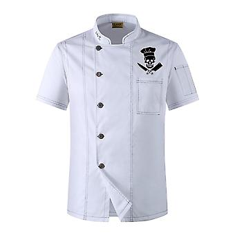 Funny Skull Print Chef Uniform Kitchen Bakery Cafe Food Service Short Jacket