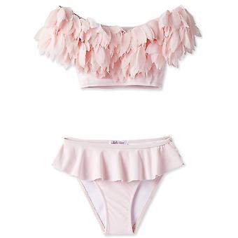 Roze Gedrapeerde Bikini met Bloemblaadjes
