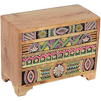 Casa Moro Mini-Kommode Bagira 28x13x22 cm (B/T/H) aus Echtholz mit 4 bunten Schubladen |