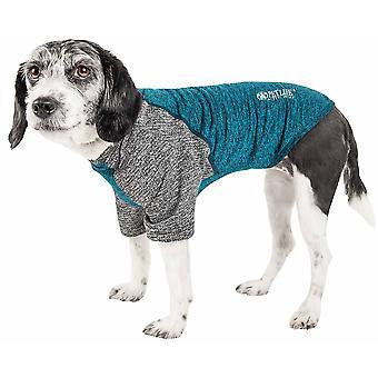 Haustier Leben aktiv 'Hybreed' 4-Wege-Stretch zweifarbige Performance Hund T-Shirt, Petrol/grau - X-Large