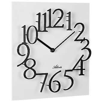 אטלנטה 4511/0 שעון קיר קוורץ ריבוע לבן אנלוגי מרובע