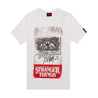 Stranger Things camiseta para hombres | Adultos La mente al revés Flayer camiseta blanca | Mercancía original de regalo de Netflix