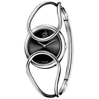 Calvin Klein - women's quartz watch with black analog dial and silver stainless steel strap