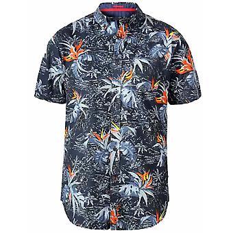 DUKE Duke Mens Big Size - Severn - Hawaiian Leaf Print Button Down Collar Cotton Short Sleeve Shirt