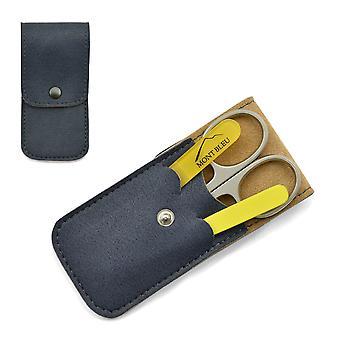 Mont Bleu 3-piece Manicure Set in Soft Leatherette Case - Yellow