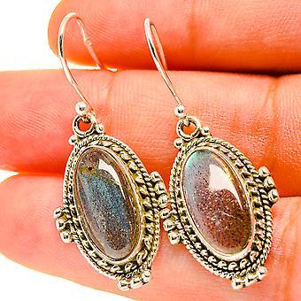"""Labradorite Earrings 1 1/2"""" (925 Sterling Silver)  - Handmade Boho Vintage Jewelry EARR416989"""