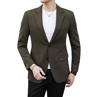 Allthemen Men's Olive Green Notched Lapel Single Row Two Button Split Blazer