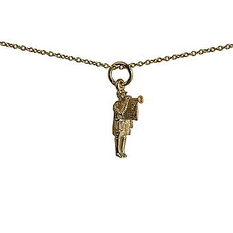 9ct Gold 16x7mm Herald with Trumpet Pendant with a cable Chain 20 inches