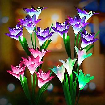 Outdoor Solar Lights, 4 Pack Solar Garden Lights With Bigger Lily Flowers