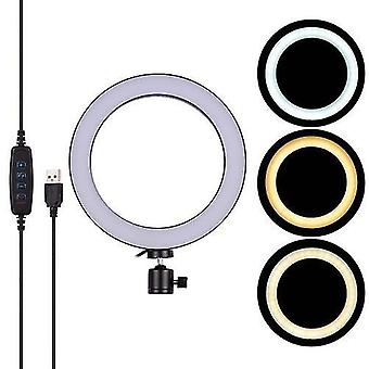 20cm/ 8inch Mini LED Luz de anel de vídeo 3 modos de iluminação Ajustável USB Alimentado