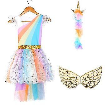 Girls Unicorn Tutu Dress Children Birthday Party Dresses(M)