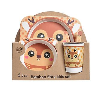 Mile Five-piece Bamboo Fiber Children's Tableware Fawn Pattern Kid Sets