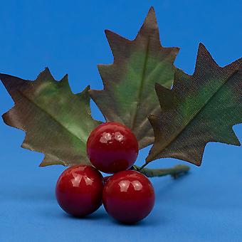 12 julestuk med 3 holly blade og bær