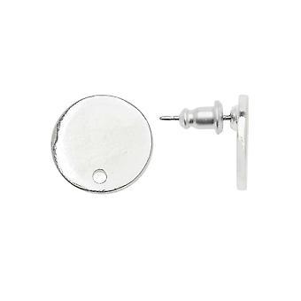 Earring Posts, Flat Tag Mini Circle 12.5mm, Bright Silver, 1 Pair, by Nunn Design