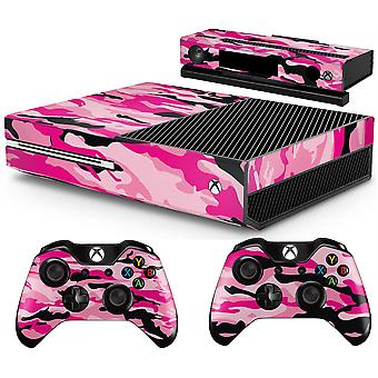 GNG Pink Camo Console Skin Decal Sticker + 2 Controller Skins compatible with Xbox One & Kinect