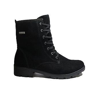 Ricosta Disera 7220200-092 svart mocka läder flickor spetsar upp fotled stövlar