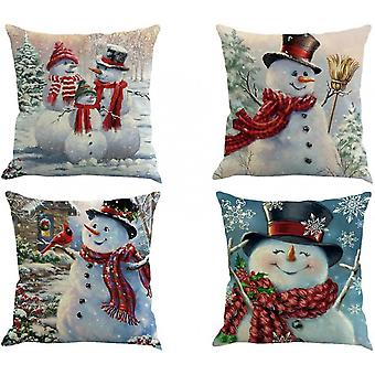 Pillow Covers 4 Pack, Christmas Tree Snowflake Reindeer Linen Pillow 18x18 Inch