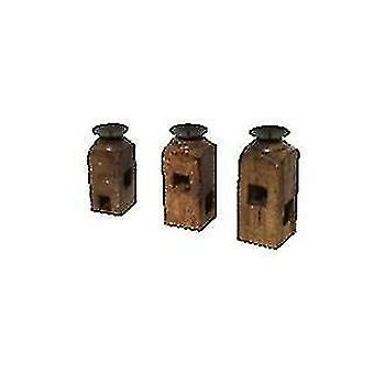 Candle holders spura home india vintage antique wood candlestands set of 3