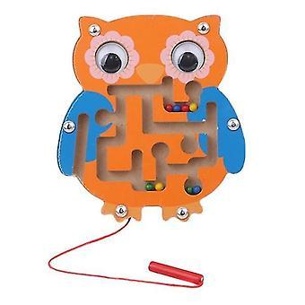 Børn magnetisk labyrint legetøj træ puslespil (Owl)