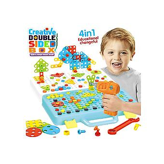 Electric Drill Puzzle Toys Set,building Blocks With Double Panel Diy Educational