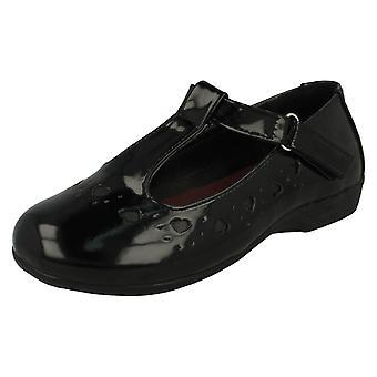 Meisjes plek op hart Detail T-Bar School schoenen H2336