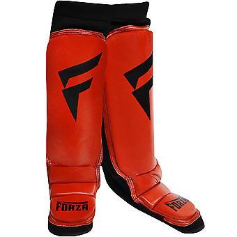 Forza Sports læder vrist benskinner - rød/sort