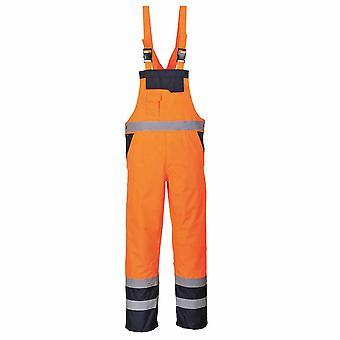 sUw - Hi-Vis Contrast Safety Workwear Bib & Brace Dungarees - Lined