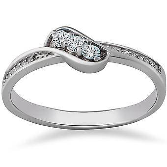 1 / 6ct 3 - Stein Diamant Versprechen Verlobungsring 14K White Gold