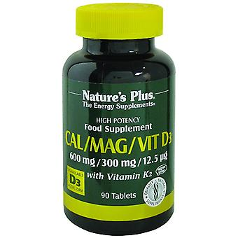Natures Plus Cal/Mag/Vit D3 with Vitamin K2, 90 tablets