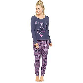 Tom Franks Ladies Fantasy Magic Fairisle Print Long Pyjama Set