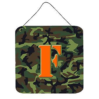 الحرف F مونوغرام الأولية-التمويه حائط أخضر أو باب شنقاً يطبع