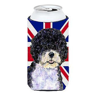 Perro con inglés Union Jack británico bandera muchacho alto bebidas Insu de agua Portugués