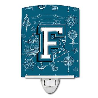 Letter F Sea Doodles Initial Alphabet Ceramic Night Light