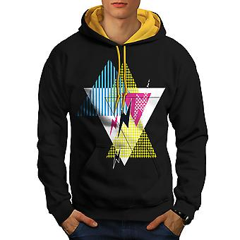Lightning Pattern Men Black (Gold Hood)Contrast Hoodie | Wellcoda