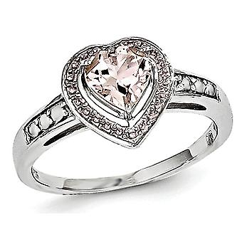 4/5 Carat (ctw) Morganite Heart Ring in Rhodium Plated Sterling Silver