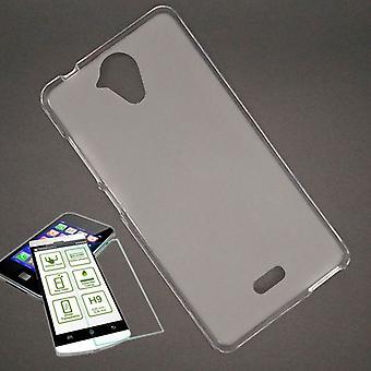 Silikoncase transparent + 0.3 H9 härdat glas för WIKO U känna väska shell ny