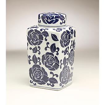 AA Importing 59949 12 Inch Square Blue & White Jar