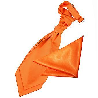 Burnt Orange Plain Satin Wedding Cravat & Pocket Square Set for Boys