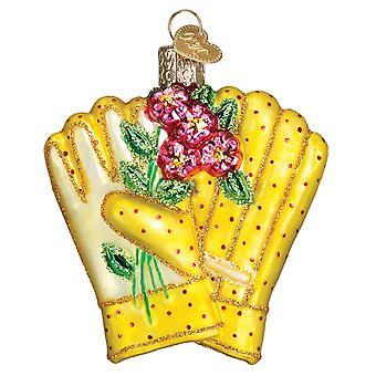 Gammaldags jul ljusa gula trädgårdsarbete handskar Holiday prydnad glas
