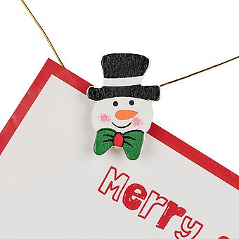TRIXES 20PC Wooden Pegs Xmas Card Holder Snowman Design with 180cm Gold Thread