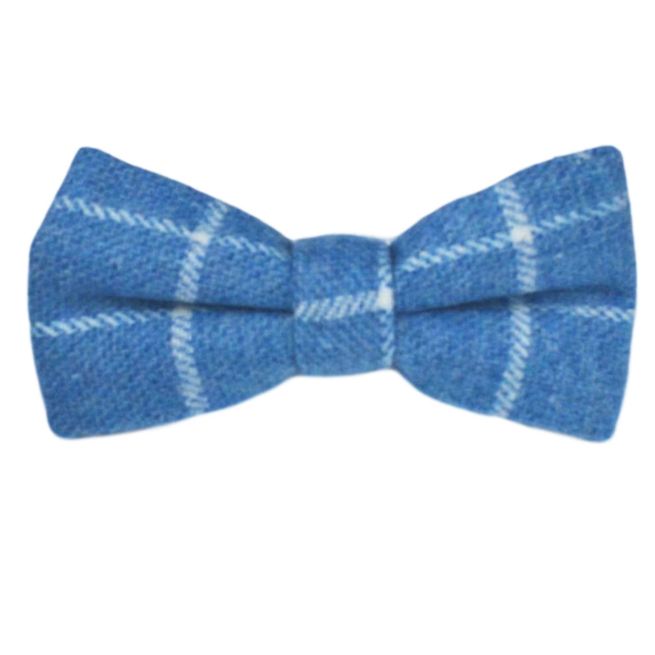 Azure Blue Birdseye Check Bow Tie