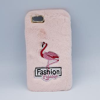 fluffy cover for iPhone 6 Plus-flamingo pink